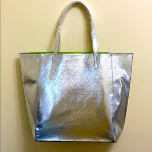 NWT Clinique Large Silver Tote Bag